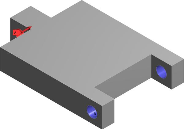 Задание граничных условий и нагрузки ( синим место крепление, красным приложенные силы)